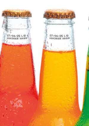 codes op glazen flesjes met inkjet